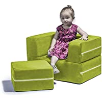 Jaxx Zipline Modular Kids Chair & Ottoman/Fold-Out Lounger, Lime