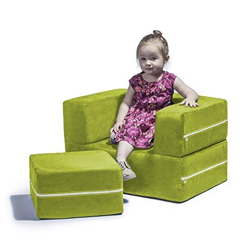 Jaxx Zipline Modular Kids Chair & Ottoman/Fold-Out Lounger, Lime