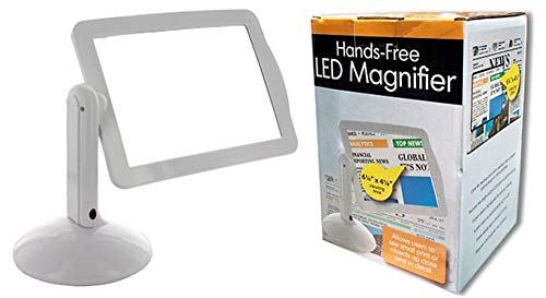Best Summer Special Gift Idea Portable Lighted Hands-Free Magnifying Glass Stand with Two LED Lights for Reading Assistance for Mom Dad Grandpa Grandma Mother Father in Law Crossword Puzzler