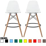 """2xhome Set of 2 Clear 28"""" Contemporary Modern Molded Shell Acrylic Plastic Eiffel Dowel Counter Height Chairs Chair with Back Side Armless for Kitchen Commercial Home Outdoor Garden Patio Ghost DSW For Sale"""