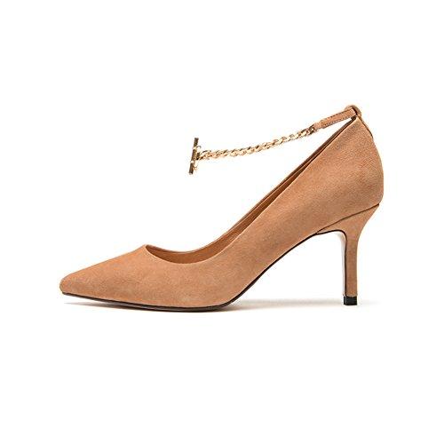 7 beige décontracté 39 nbsp;cm peu profondes 5 Noir Chaussures talons avec Chaussures Wyyy pointu hauts fine Bouche Chaîne Femme OPA1wUqS