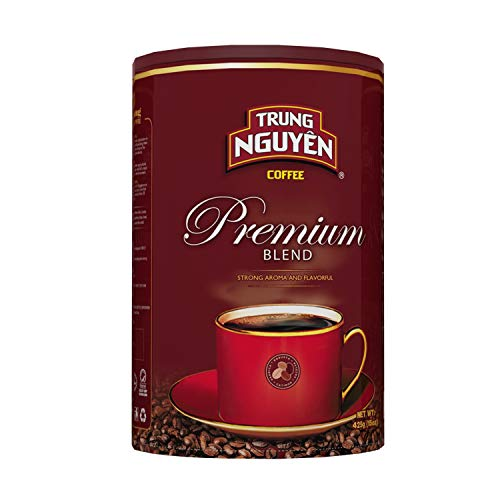 Trung Nguyen - Premium Blend - 15 Ounce Can | Vietnamese Coffee Whole Bean, Robusta and Arabica Premium Coffee Blend, Intense Flavor and Fragrance with Hint of Chocolate, Medium Roast with Low Acidity