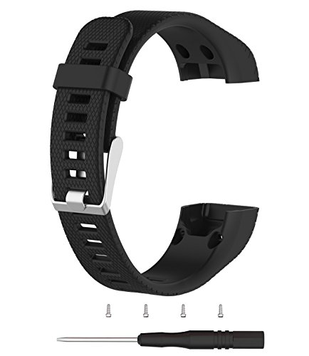 Vivosmart HR+ Bands,TenCloud Replacement Striped Sport Straps with Tool Kits for Garmin vívosmart HR Plus Tracker (Not for Garmin vivosmart HR and Other Devices)-Black