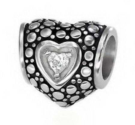 Dan Smatree Stainless Steel Heart CZ Charm Spacer Bead Fit European Charm Bracelet