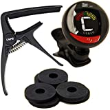 So There Essential Guitar Accessories Kit - Clip On Tuner, Capo and Guitar Savers Bundle