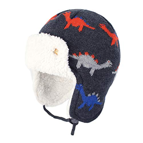 Zando Baby Beanies Infant Toddler Cute Cartoons Hat Baby Boys Earflap Caps Fall Winter Cute Dinosaurs M (18.90