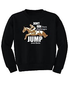 Jump Over Challenges Youth Horse Sweatshirt - Boys, Girls, Teens - Equestrian