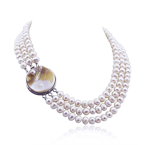 3-Row White A Freshwater Cultured Pearl Necklace 6.5-7.5mm,17 18 ,18.5 ,Mother-of-Pearl-Base-Metal-Clasp