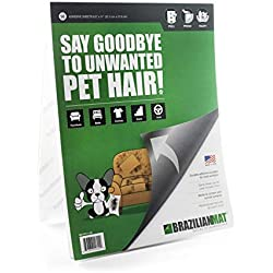 BrazilianMat Dog Hair Remover Sheets - Pet Hair, Dandruff, and Pet Fur Removal Tool for Furniture, Clothing, and Car Interiors - 50 Adhesive Sheets