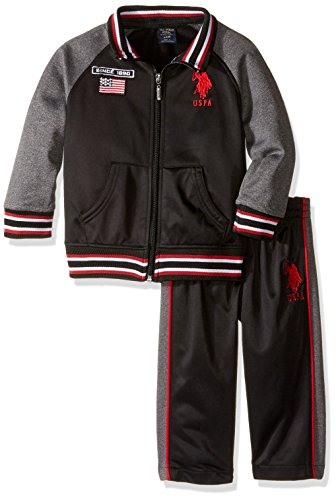 U.S. Polo Assn. Little Boys' Hooded Fleece Vest Pant and Jersey Hangdown,Engine Red-IKPKK,12M ()