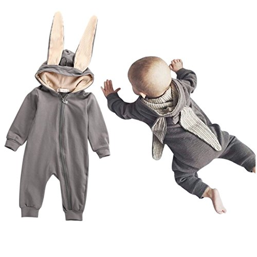 TRENDINAO Newborn Toddlers Baby Girl Boy Rabbit 3D Ear Clothes Romper Jumpsuit Outfits