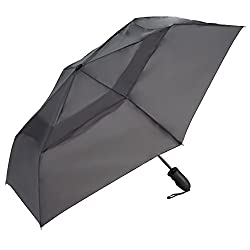 Shedrain Umbrellas Windjammer Vented Auto Open Auto Close Folding Umbrella (Grey)