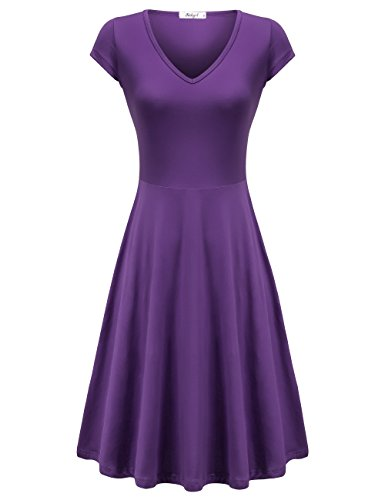 Richgirl Women's Casual V-Neck Short Sleeve Casual Flare Midi Dress Purple S ()