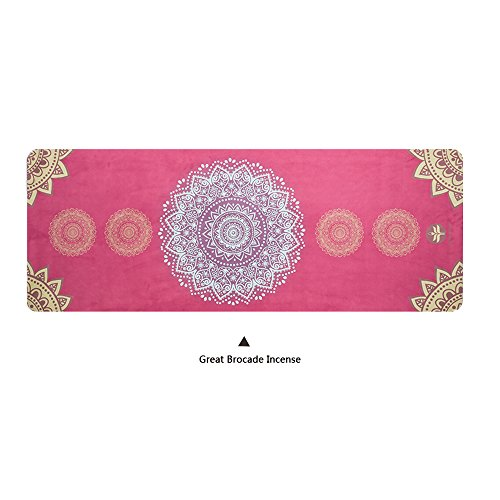 HuanBoShi natural rubber + suede clear printed high temperature yoga mat 0.15in professional yoga mat (Great Brocade Incense) Deluxe Incense Display