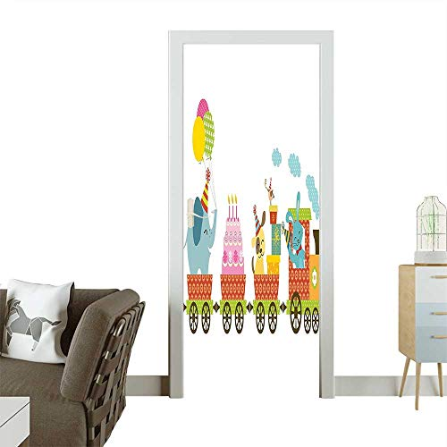 Door Sticker Wall Decals for Kids Happy Cartoon Cake Animals Balloons in a Party Train Image Multicolor Easy to Peel and StickW36 x H79 INCH -