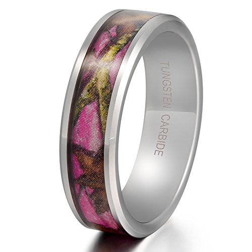 Women 6mm Tungsten Carbide Pink Ring Camo Tree Leaf Pattern Hunting Camouflage Engagement Wedding Band Size 8