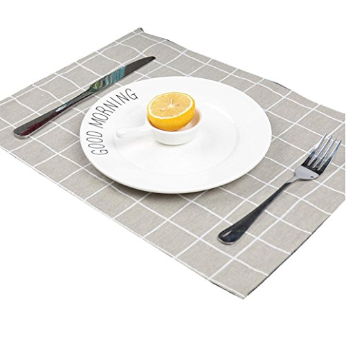 Hot Sale Placemat!Elevin(TM)2017 New Antibacterial Stain-resistant Cotton Placemat Meal Cup Pad Table Kitchen Dining Bar Place Mat 3040cm,Home Dinner Decorative (Gray) (Benches Bar Sale For)