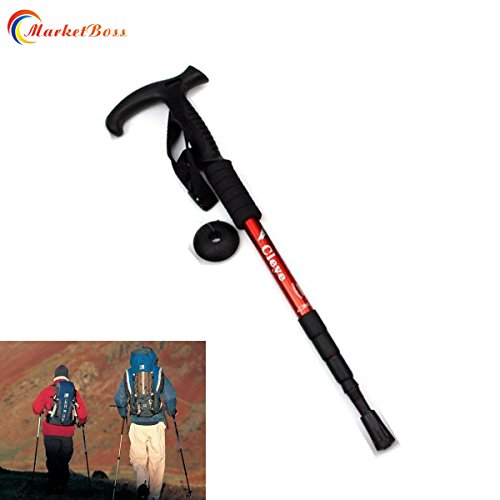 MarketBoss Folding 19.29in Stretching 41.33in in Length Aluminum Alloy Alpenstock 4 Sections Anti-Shock Telescopic Walking Stick Adjustable Canes Crutch for Trekking Climbing Hiking Pole