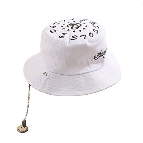 e848f4fddd3 YueLian Womens Mens Short Brim Hip Pop Couple Summer Bucket Hats with Chain  (White)