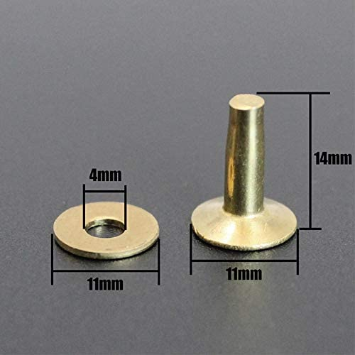 50 Sets Rivets for Leather Solid Brass Copper Rivet with Burrs//washers Cap 11mm Length 14mm
