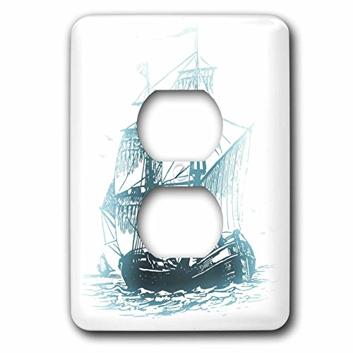 3dRose lsp_56311_6 Pirate Ship On The Ocean - Halloween Art 2 Plug Outlet Cover]()