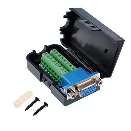 - Oiyagai DB15 3+9 D-SUB VGA Female 3Row 15Pin Connector Adaptor with Nut Terminal Breakout Board Free Welding