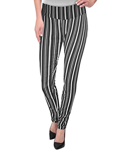 Super Comfy Stretch Pull On Millenium Pants KP44972 11064 Blackwhite - Womens Tight Pants