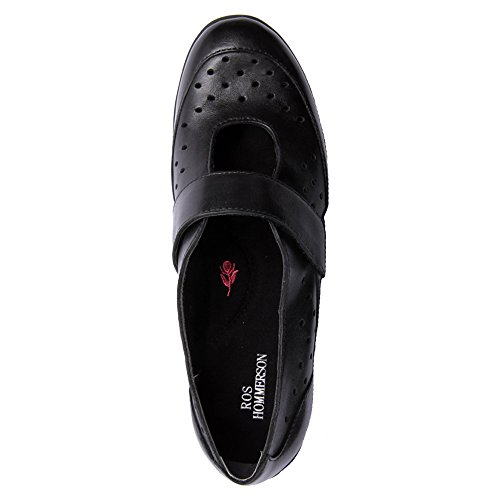 Ros Hommerson Womens Nevaeh Mary Janes Casual Flats Black Perferated