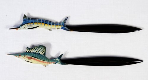 Blue Marlin Sculpture - Wholesale Pack Handpainted Sail Fish Blue Marlin Letter Opener (Set Of 12)