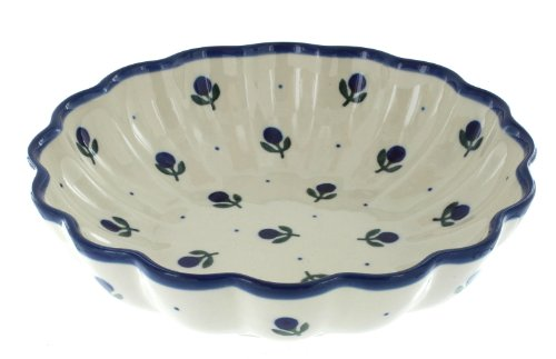 Polish Pottery Blueberry Medium Scallop Dish