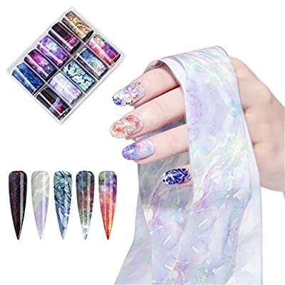Padaleks 10 Rolls/Box Nail Stickers Set Stary Sky Nail Foils Art Transfer Mixed Pattern Stickers Multiple Choices (B, Free): Sports & Outdoors