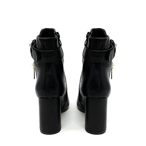 Miss Diva Gi-Gi Ladies Women High Block Heel Gold Zip & Buckles Detail Round Toe Ankle Boot Black g05YKDT