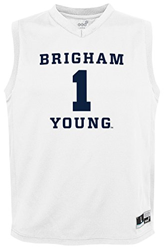 NCAA by Outerstuff NCAA Byu Cougars Youth boys Chase Basketball Jersey, White, Youth Medium(10-12)