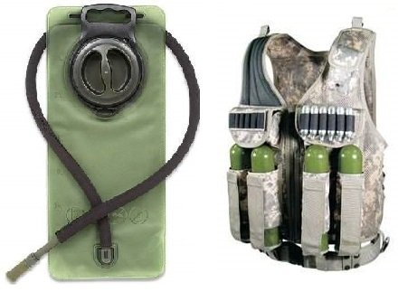 Ultimate Arms Gear ACU Army Digital Camo Tactical Scenario Stealth Black Paintball Airsoft Battle Gear Tank-Armor Pod Vest w/ Heacy Duty Belt + OD Olive Drab Green 2.5 Liter / 84 oz. Replacement Hydration Backpack Water Bladder Reservoir - Includes (Special Tactical Digital Camo Handle)