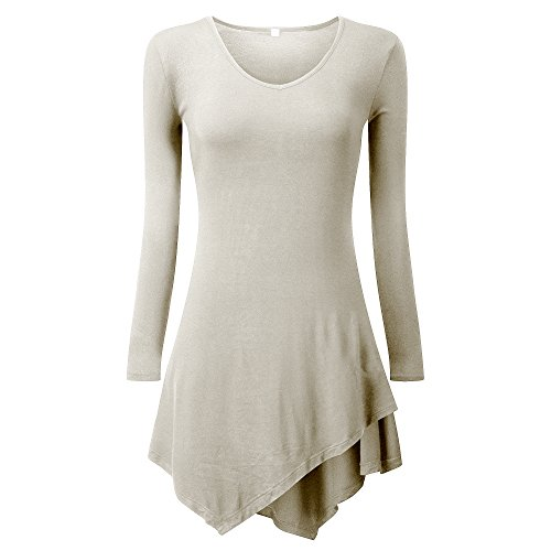 Women's Irregular Hem Casual Long Sleeve Loose T-Shirt Top by Luck Wang(3XL(US(22-24)-Mily) (Scrub Star Pull On Scrub Pant)