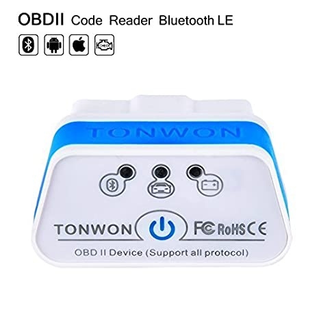 TONWON OBD2 Car Code Reader Scan Tool OBD Scanner Connects Via Bluetooth  4 0 (BLE) With iOS, Android Device