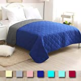CottonTex Reversible Bedspread Solid Blue/Grey,Twin Size 68x86 Inches Diamond Pattern Lightweight Hypoallergenic Microfiber Bed Coverlet Alternative Quilt