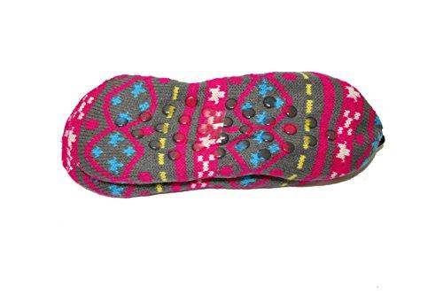 Zapatillas Para Mujer Sherpa Antideslizante Para Exteriores De Punto Frio Botines De Interior (sll) (sll-3320) -fuchsiamulti