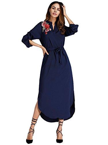 Verdusa Women's Side Split Roll-up Sleeve Self-Tie Waist Floral Shirt Dress Navy (Embroidered Hem Dress)