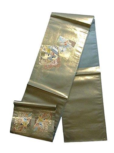 の間で蒸発そしてリサイクル 袋帯 金地 蘇州刺繍 色紙に平安貴族 正絹 お太鼓柄