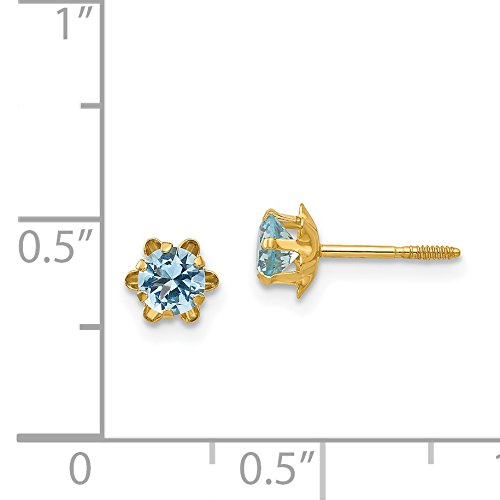 14k Yellow Gold Childrens 4mm Synthetic Blue March Screwback Earrings
