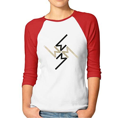 Women's Raglan T Shirt Marilyn Manson Funny Short Sleeve Tee XL Red -