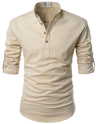TheLees (NKN350) Transform Roll-Up Sleeve Mandarin Henley Neck Linen Shirts BEIGE US L(Tag size L)