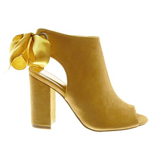 Angkorly Women's Fashion Shoes Ankle Boots - Booty Sandals - Open - Peep-Toe - Satin Lace Block High Heel 10.5 cm Mustard tCQQlSk