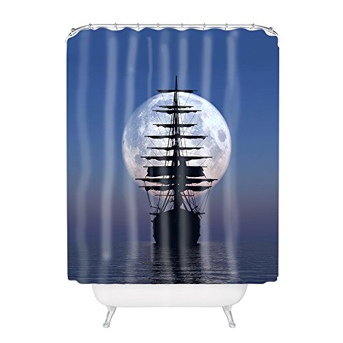 Vintage Sailing Pirate Ship In Moon Polyester Fabric Bathroom Shower Curtain