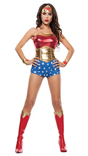 Starline Women's Lady Power Sexy Cosplay 4 Piece Costume Set, Red/Gold, Medium (Sexy Wonder Woman Cosplay)