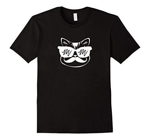 Cool Cat with Shades & Handlebar Mustache - Hipster - Mustache Black Sunglasses Handlebar