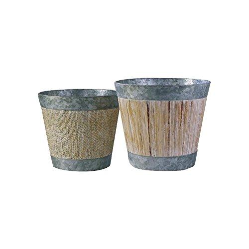 AUBRY GASPARD Cache-Pots en Zinc et Corde - Lot de 2