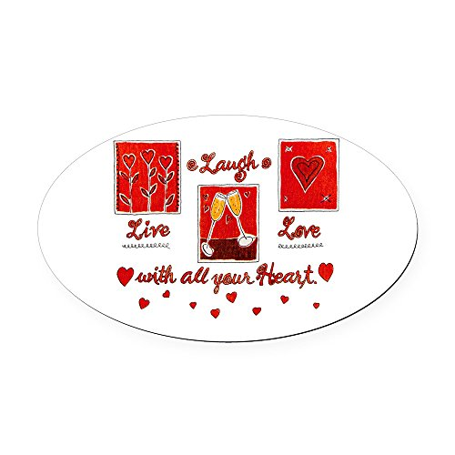 Oval Car Magnet Large Laugh Live Love With Your Heart