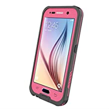 Galaxy S6 Case Waterproof, iThrough S6® Underwater Case with Kickstand, Dust/Snow/Shock Proof Case with Touched Screen Protector,Heavy Duty Protective Carrying Cover Case for Galaxy S6alaxy S6 (Pink-)